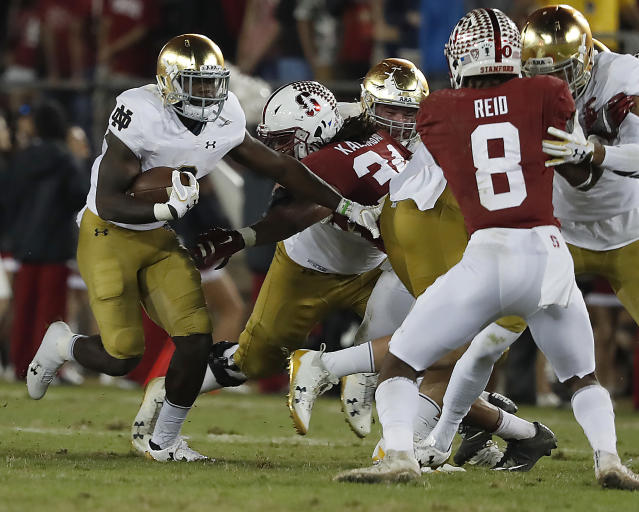 Notre Dame running back Dexter Williams averaged over 9 yards a carry in 2017. (AP Photo/Tony Avelar)