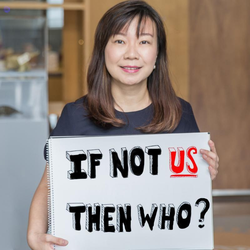Shot of Jacelyn Lim with poster