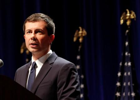 U.S. Democratic presidential candidate Mayor Pete Buttigieg delivers remarks on foreign policy and national security in Bloomington Indiana