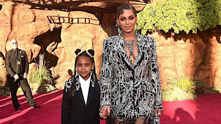 """Blue Ivy Carter and Beyonce Knowles-Carter attend the World Premiere of Disney's """"THE LION KING"""" on July 09, 2019 in Hollywood, California. (Photo by Alberto E. Rodriguez/Getty Images for Disney)"""