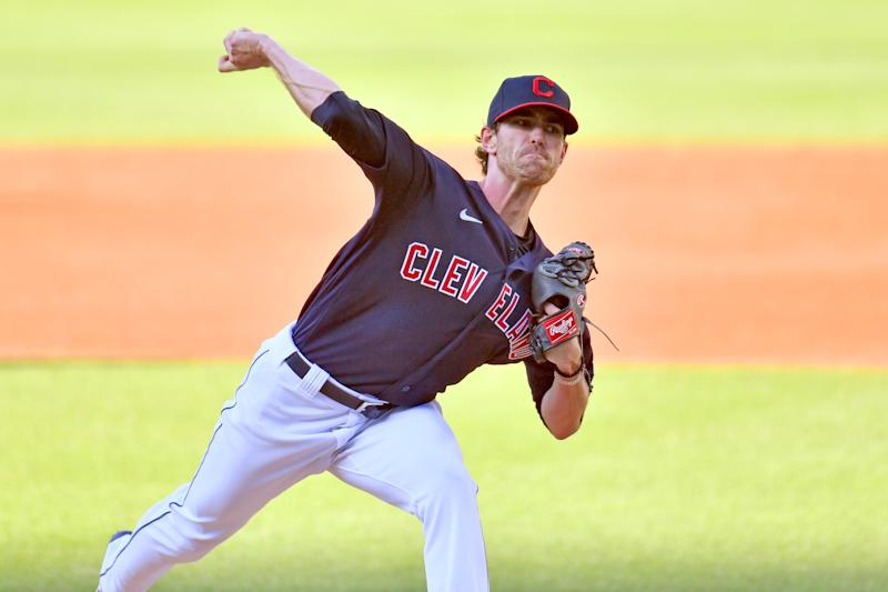 Starting pitcher Shane Bieber #57 of the Cleveland Indians