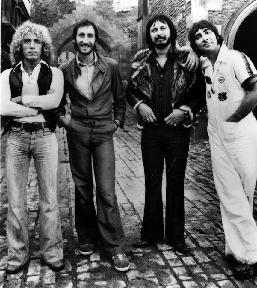 The British rock band The Who pose in 1976. From left they are: Roger Daltrey, Pete Townshend, John Entwhistle and Keith Moon. (AP Photo)