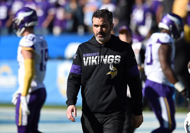 CARSON, CA - DECEMBER 15: Vikings offensive coordinator Kevin Stefanski during an NFL game between the Minnesota Vikings and the Los Angeles Chargers on December 15, 2019, at Dignity Health Sports Park in Carson, CA. (Photo by Chris Williams/Icon Sportswire via Getty Images)