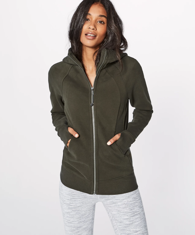 Scuba Hoodie in Dark Olive. Image via Lululemon.