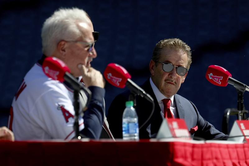 Angels owner Arte Moreno, right, hired Joe Maddon as manager in 2019.