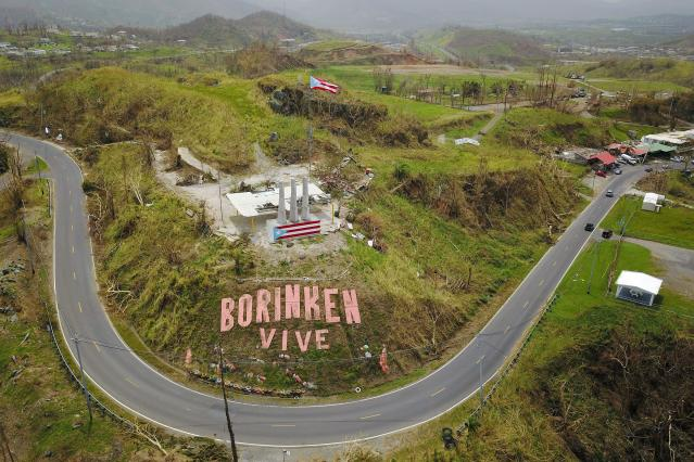 "<p>A mural that reads in Spanish ""Boriken is alive"" is seen a week after the passage of Hurricane Maria in Cayey, Puerto Rico, on Sept. 27, 2017. Boriken is the pre-Columbian Taino name of today's Puerto Rico. (Photo: Ricardo Arduengo/AFP/Getty Images) </p>"