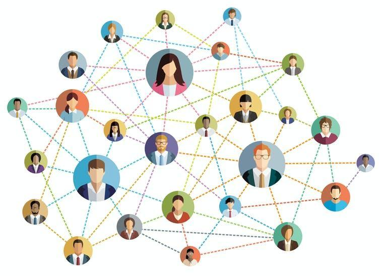 Picture of a network with office workers as nodes