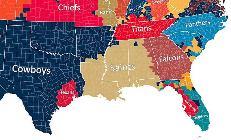 Map Shows Which NFL Team Every US County Roots For on super bowl team map, basketball team map, pittsburgh steelers map, favorite baseball team map, major league baseball team map, fifa team map, nfc team map, nhl team map, new england patriots map, mlb team map, cincinnati reds map, qmjhl team map, nhl fan map, nba team map, ncaa team map, cfl team map, hockey team map, mls team map, washington redskins map, afl team map,