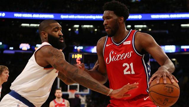 "<a class=""link rapid-noclick-resp"" href=""/nba/players/5294/"" data-ylk=""slk:Joel Embiid"">Joel Embiid</a> was definitely back, and he led the Sixers to victory on Christmas Day. (Getty Images)"