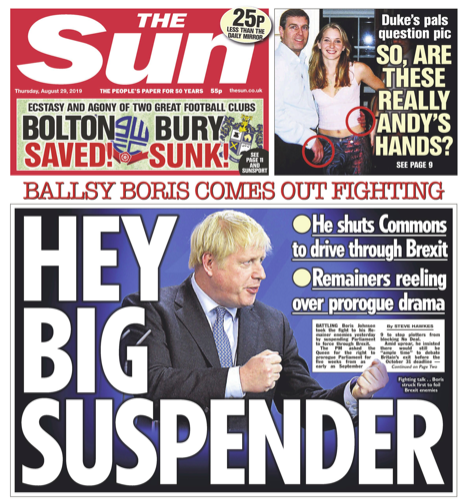 "The Sun voiced a more cheeky confidence vote, with a front page headline of ""Ballsy Boris comes out fighting"" as they wrote of ""Remainers reeling"" about Parliament's suspension. (Twitter)"