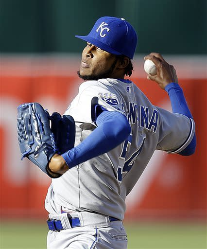 Kansas City Royals' Ervin Santana works against the Oakland Athletics in the first inning of a baseball game Saturday, May 18, 2013, in Oakland, Calif. (AP Photo/Ben Margot)