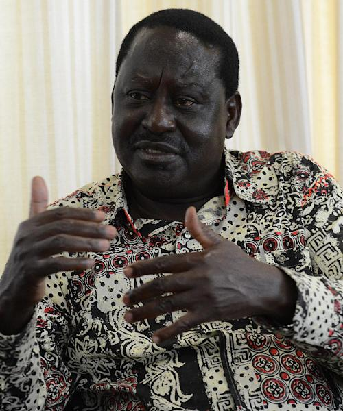 Kenyan opposition leader Raila Odinga in an interview with AFP at his office in Nairobi on July 15, 2014 (AFP Photo/Simon Maina)