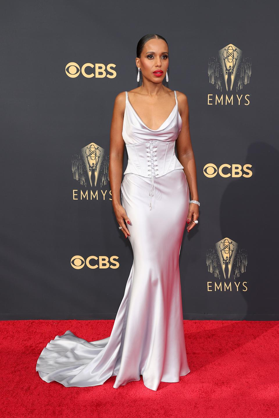 Kerry Washington wears a silver cowl-neck dress at the 73rd Primetime Emmy Awards at L.A. LIVE on September 19, 2021 in Los Angeles, California. (Photo by Rich Fury/Getty Images)
