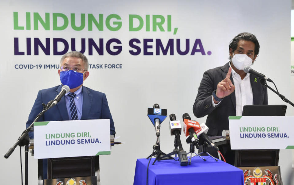Science, Technology and Innovation Minister Khairy Jamaluddin speaking at the weekly Covid-19 Immunisation Task Force joint press conference with Health Minister Datuk Seri Dr Adham Baba in Putrajaya, July 5, 2021. — Bernama pic