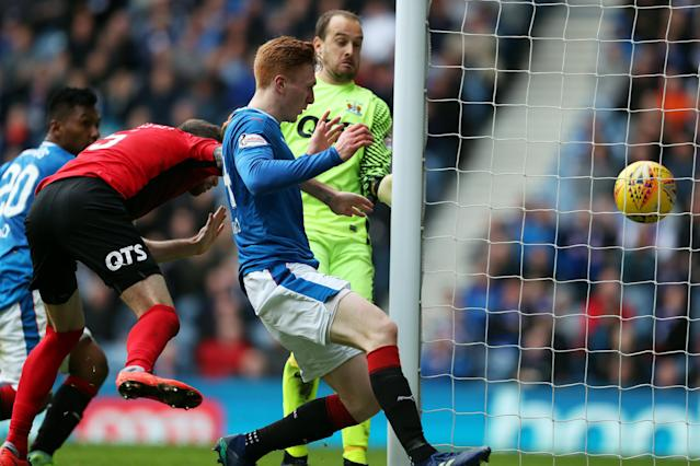 Soccer Football - Scottish Premiership - Rangers vs Kilmarnock - Ibrox, Glasgow, Britain - May 5, 2018 Rangers' David Bates scores their first goal REUTERS/Scott Heppell
