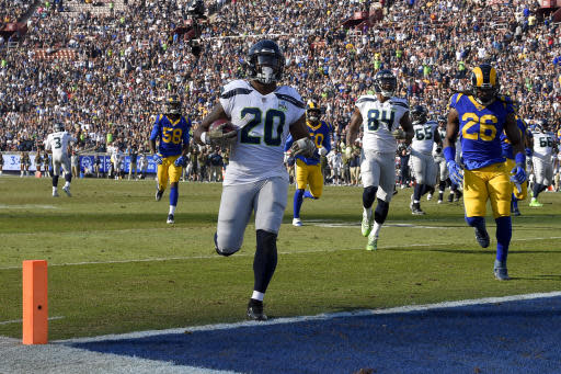 Seattle Seahawks rookie Rashaad Penny delivered his first NFL touchdown and first 100-yard rushing performance in Week 10. (AP Photo/Mark J. Terrill)