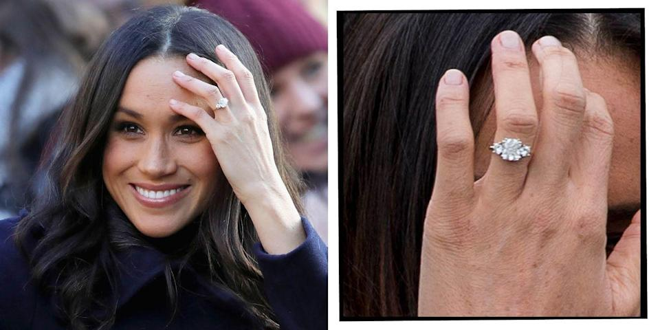 """<p><a href=""""https://www.elle.com/uk/meghan-markle-actress/"""" rel=""""nofollow noopener"""" target=""""_blank"""" data-ylk=""""slk:Meghan Markle's"""" class=""""link rapid-noclick-resp"""">Meghan Markle's</a> engagement ring, which was<a href=""""https://www.elle.com/uk/life-and-culture/culture/news/a38299/prince-harry-meghan-markle-engagement/"""" rel=""""nofollow noopener"""" target=""""_blank"""" data-ylk=""""slk:first shown to the world in 2017"""" class=""""link rapid-noclick-resp""""> first shown to the world in 2017</a>, features three stones. The central stone is a diamond sourced from Botswana, a country very close to Harry's heart and where the couple holidayed together, then the two diamonds either side belonged to his mother, Princess Diana. The gold-banded ring was designed by Harry.</p><p>'It's yellow gold because it's her favourite.. the little diamonds either side are from my mother's jewellery collection to make sure she's with us on this crazy journey together,' <a href=""""https://www.elle.com/uk/life-and-culture/culture/news/a40211/princess-diana-over-the-moon-prince-harry-engagement/"""" rel=""""nofollow noopener"""" target=""""_blank"""" data-ylk=""""slk:Harry said during their engagement interview."""" class=""""link rapid-noclick-resp"""">Harry said during their engagement interview.</a><br></p><p><a class=""""link rapid-noclick-resp"""" href=""""https://www.tiffany.co.uk/engagement/engagement-rings/tiffany-three-stone-engagement-ring-in-platinum-GRP10896/"""" rel=""""nofollow noopener"""" target=""""_blank"""" data-ylk=""""slk:SHOP SIMILAR"""">SHOP SIMILAR</a> Three Stone Engagement Ring in Platinum, Tiffany&Co, £5,600</p>"""