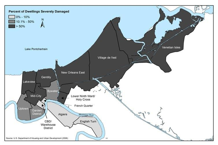 Map of severe damage caused by Hurricane Katrina to New Orleans.