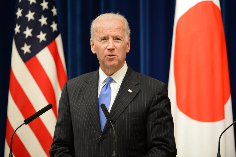 US Vice President Joe Biden speaks during a joint press conference with Japanese Prime Minister Shinzo Abe, in Tokyo on December 3, 2013