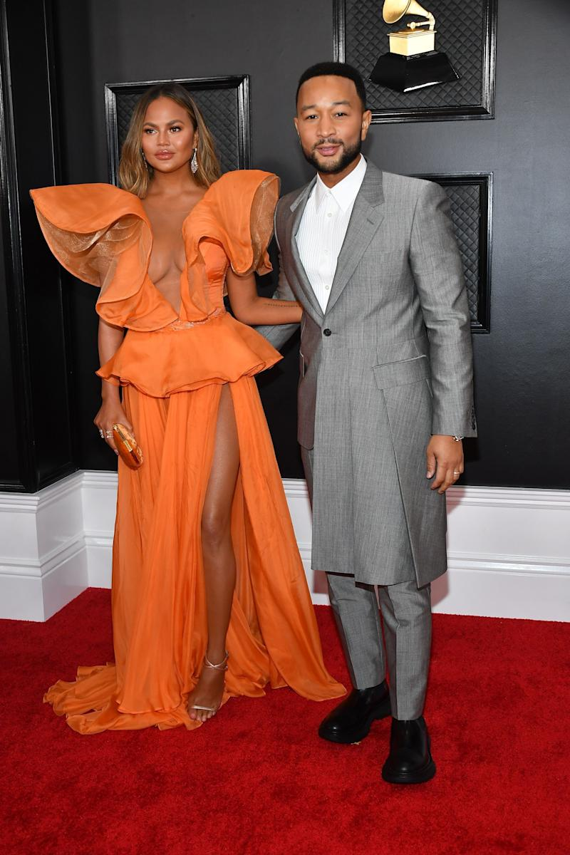 Chrissy Teigen's dress makes me think of a monarch butterfly and also of a creamsicle, strangely both things I like better than Chrissy Teigen's dress. And John's suit is gorgeous, but the length is a little weird, no?