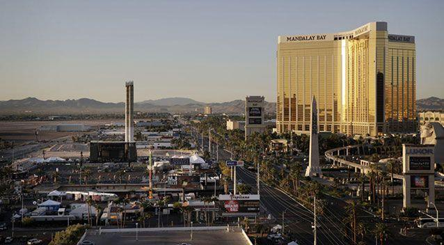 The Mandalay Bay Resort and Casino, right, overlooking an outdoor festival grounds across the street, left, on Oct. 3, 2017, in Las Vegas. Source: John Locher/AP