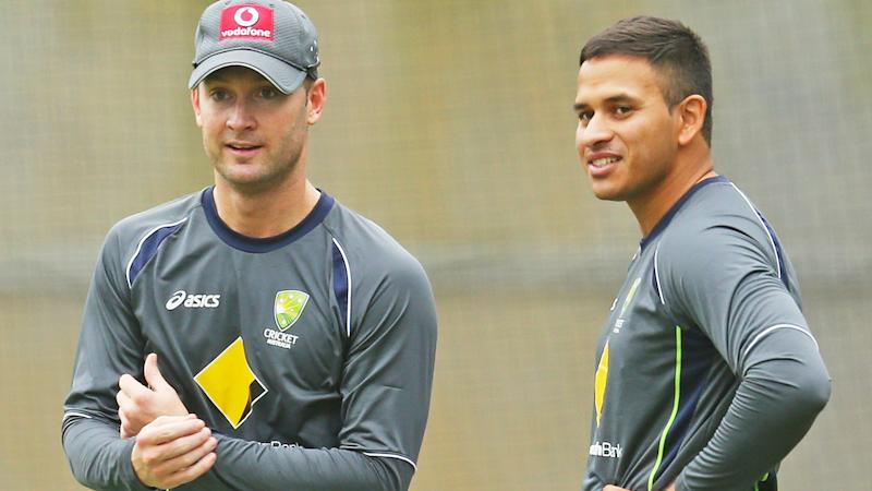 Michael Clarke and Usman Khawaja, pictured here at a training session for Australia in 2012.