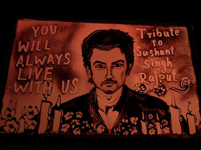 Indian sand artist Manas Sahoo tribute to the Bollywood actor Sushant Singh Rajput by his sand animation at Puri, 65 km away from the eastern Indian state Odishas capital city Bhubaneswar on June 15, 2020. (Photo by STR/NurPhoto via Getty Images)