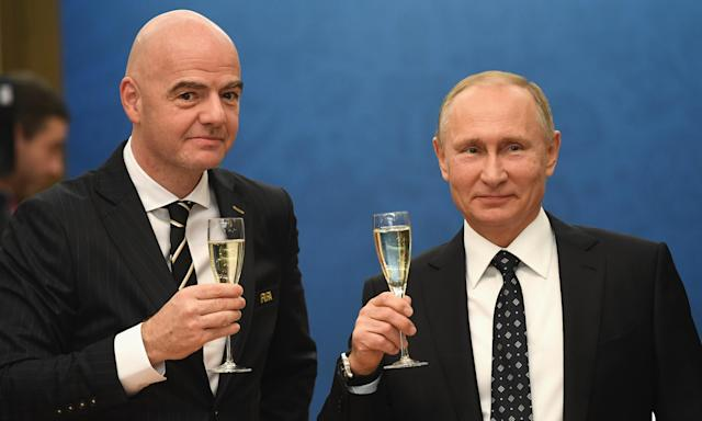 Gianni Infantino with Vladimir Putin at December's World Cup draw. The Fifa president and Russia's president will have plenty more photo opportunities this summer.