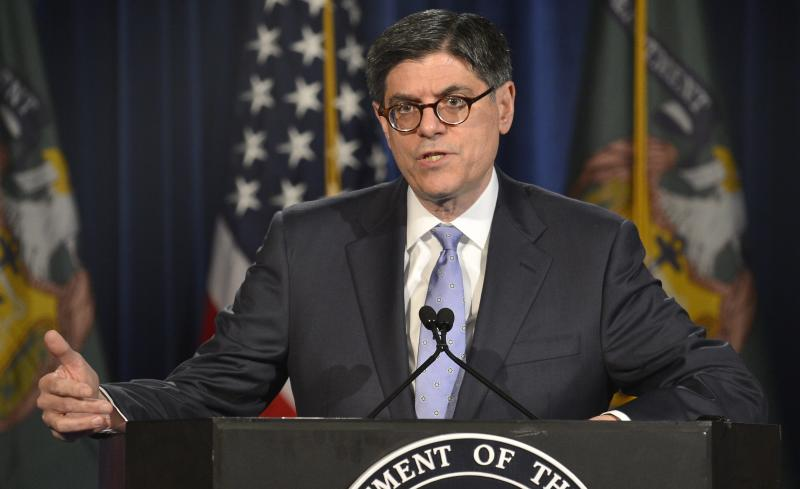 U.S. Treasury Secretary Jack Lew makes remarks to the press on his meetings throughout the day at the IMF/World Bank's 2014 Spring Meetings, in Washington