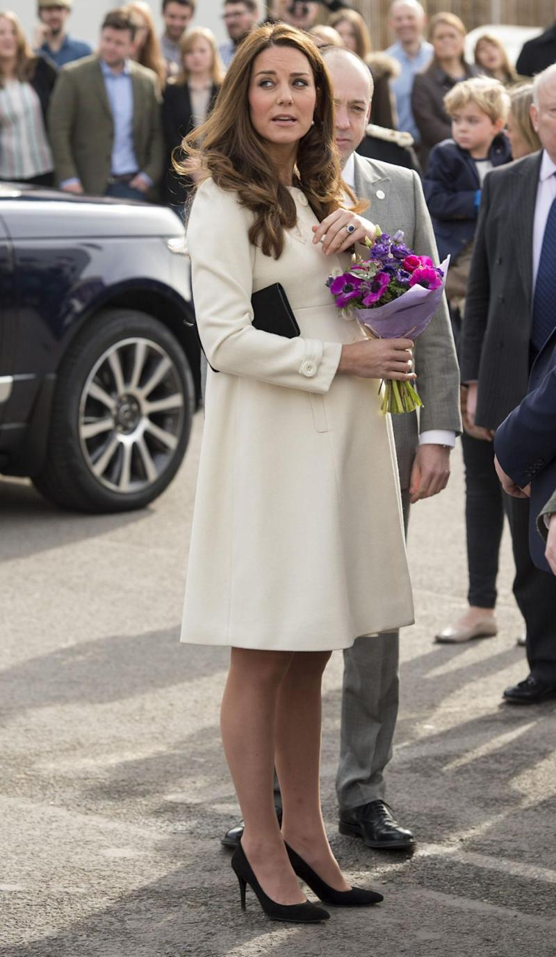 Kate wore the same coat back in 2015 when she was pregnant with Princess Charlotte. Photo: Getty Images