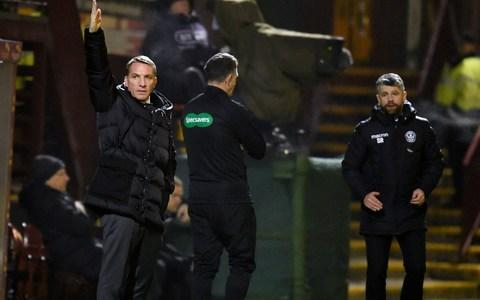 <span>Celtic manager Brendan Rodgers gestures </span> <span>Credit: PA </span>