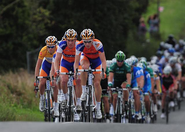 KING'S LYNN, ENGLAND - SEPTEMBER 17: Lars Boom of Team Rabobank current IG Markets Gold Jersey holder rides with his team mates during Stage Seven of the Tour of Britain in Suffolk on September 17, 2011 in King's Lynn, England. (Photo by Jamie McDonald/Getty Images)