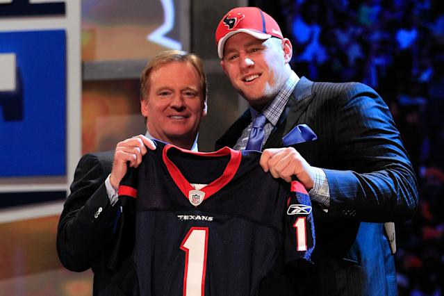 NFL commissioner Roger Goodell and J.J. Watt after the Houston Texans selected Watt with the No. 11 overall pick at the 2011 NFL draft. (Photo by Chris Trotman/Getty Images)