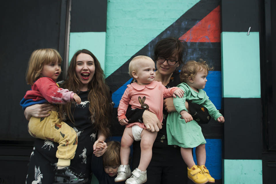 Amber and partner Kirsty have four children thanks to a sperm donor [Photo: SWNS]
