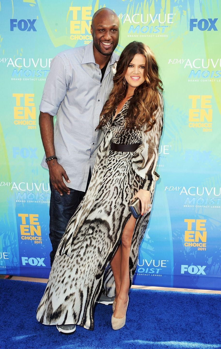 """<p>After only a month of dating, Khloé and Lamar married and gave us a Kardashian spinoff show that made us swoon every Sunday. That is, until news broke that Lamar had been struggling with substance abuse (which Khloé knew about) and cheating on Koko (which she didn't). The couple stayed together at first and tried to reconcile, according to <a href=""""https://people.com/celebrity/khlo-kardashian-files-for-divorce-from-lamar-odom/"""" rel=""""nofollow noopener"""" target=""""_blank"""" data-ylk=""""slk:People"""" class=""""link rapid-noclick-resp""""><em>People</em></a>, but Khloé filed for divorce in 2013.</p>"""