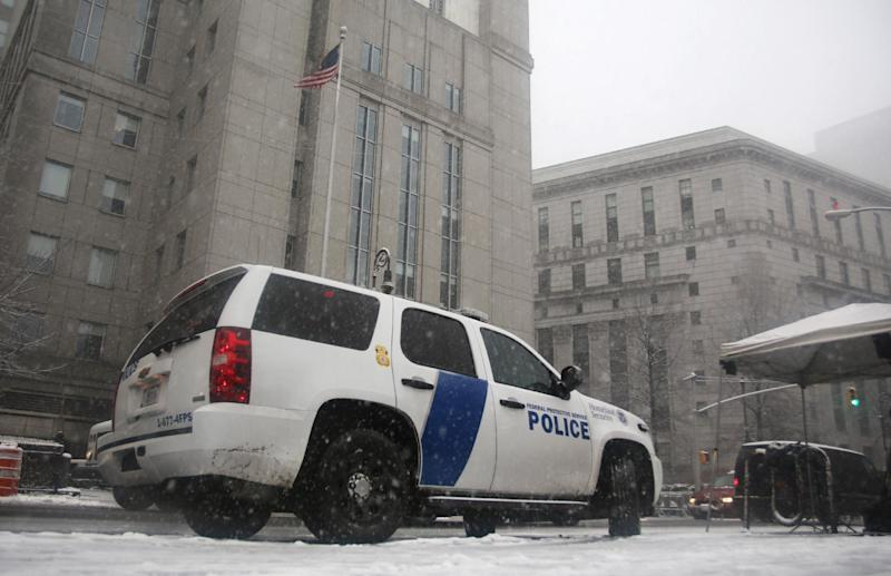A Homeland Security vehicle sits in front of a federal court in New York on March 8, 2013, where Sulaiman Abu Ghaithwhere, a senior al-Qaida leader and son-in-law of Osama bin Laden, pleaded not guilty to plotting against Americans in his role as the terror network's top spokesman.  The case marks a legal victory for the Obama administration, which has long sought to charge senior al-Qaida suspects in U.S. federal courts instead of holding them at the military detention center at Guantanamo Bay, Cuba. Charging foreign terror suspects in federal courts was a top pledge by President Barack Obama shortly after he took office in 2009, aimed, in part, to close Guantanamo Bay. (AP Photo/Peter Morgan)