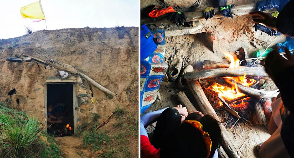 The exterior and interior of the cave where Mr Zhu sheltered the athletes. Source: Weibo