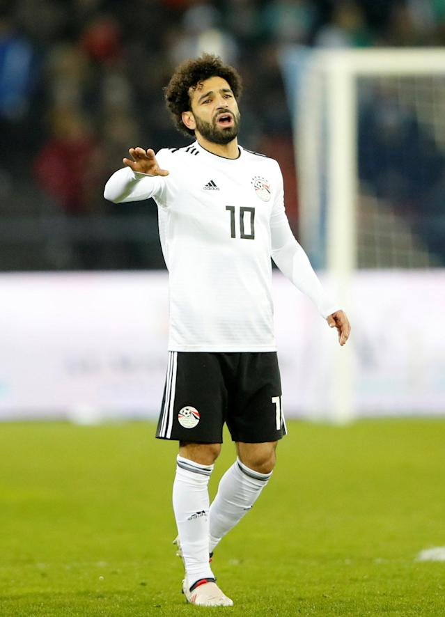 Soccer Football - International Friendly - Portugal vs Egypt - Letzigrund, Zurich, Switzerland - March 23, 2018 Egypt's Mohamed Salah reacts as he is substituted off REUTERS/Arnd Wiegmann