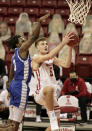 Wisconsin's Tyler Wahl (5) shoots next to Eastern Illinois' Mack Smith (3) during the second half of an NCAA college basketball game Wednesday, Nov. 25, 2020, in Madison, Wis. Wisconsin won 77-67. (AP Photo/Andy Manis)