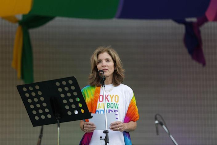 <p>Caroline Kennedy delivers a speech at the rainbow pride parade on May 8, 2016 in Tokyo, Japan. She resigned from her role as United States Ambassador to Japan in January 2017. </p>