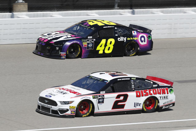Brad Keselowski (2) and Jimmie Johnson (48) practice for a NASCAR Cup Series auto race at Michigan International Speedway in Brooklyn, Mich., Saturday, Aug. 10, 2019. (AP Photo/Paul Sancya)