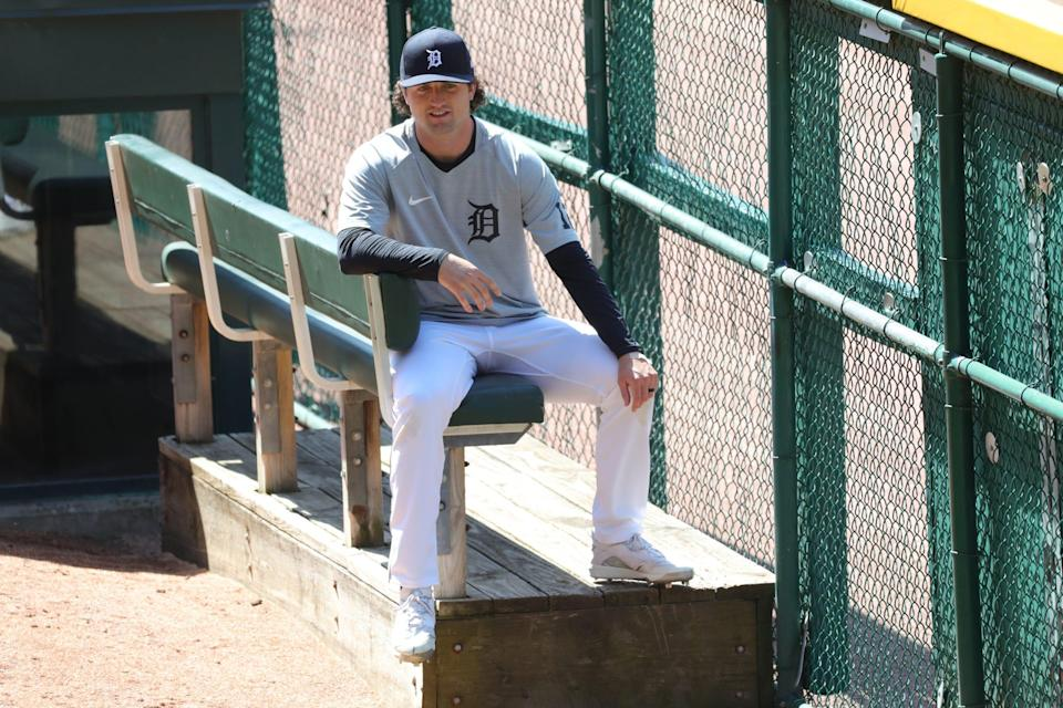 Tigers pitcher Casey Mize in the bullpen during practice on Wednesday, March 31, 2021, at Comerica Park, a day before Opening Day against the Cleveland Indians.