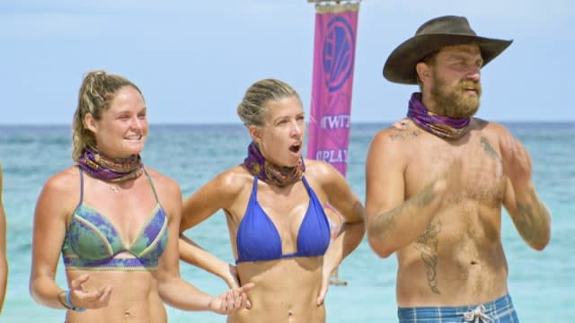Ashley Nolan with Chrissy Hofbeck and Ben Driebergen on Survivor: Heroes Vs. Healers Vs. Hustlers