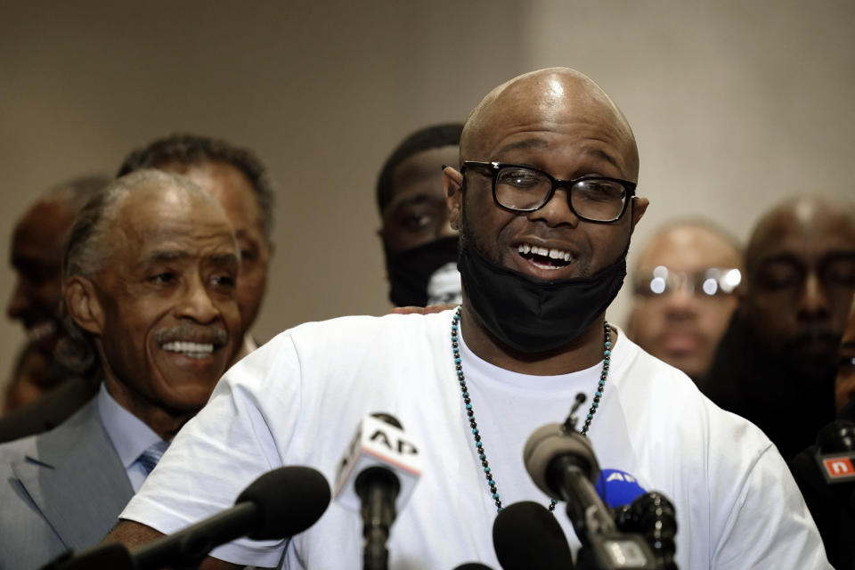 FILE - In this April 20, 2021 file photo, George Floyd's brother, Terrence Floyd, speaks during a news conference after the verdict was read in the trial of former Minneapolis Police officer Derek Chauvin, who was convicted of second-degree unintentional murder and other charges in Floyd's May 25, 2020, death, in Minneapolis. Floyd's family members — including his brothers Terrence and Philonise and his nephew Brandon Williams — will give statements in court Friday, June 25, before Chauvin is sentenced. (AP Photo/John Minchillo File)
