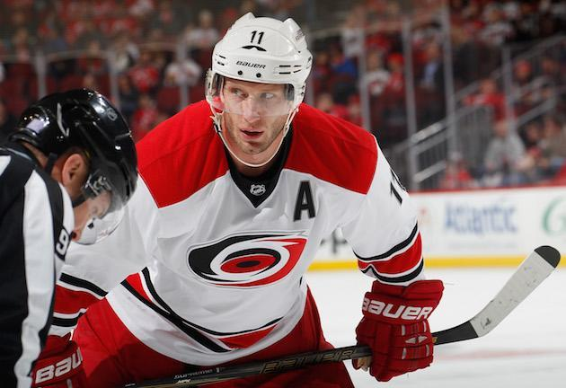 "NEWARK, NJ – NOVEMBER 08: <a class=""link rapid-noclick-resp"" href=""/nhl/players/3980/"" data-ylk=""slk:Jordan Staal"">Jordan Staal</a> #11 of the <a class=""link rapid-noclick-resp"" href=""/nhl/teams/car/"" data-ylk=""slk:Carolina Hurricanes"">Carolina Hurricanes</a> waits for a faceoff during an NHL hockey game against the <a class=""link rapid-noclick-resp"" href=""/nhl/teams/njd/"" data-ylk=""slk:New Jersey Devils"">New Jersey Devils</a> at the Prudential Center on November 8, 2016 in Newark, New Jersey. Devils won 3-2 in a shootout. (Photo by Paul Bereswill/Getty Images)"
