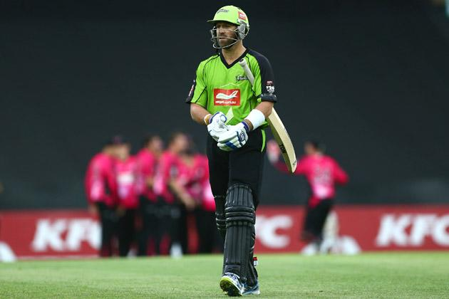 Matt Prior of the Thunder leaves the field after being dismissed during the Big Bash League match between Sydney Thunder and the Sydney Sixers at ANZ Stadium on December 30, 2012 in Sydney, Australia.  (Photo by Mark Kolbe/Getty Images)