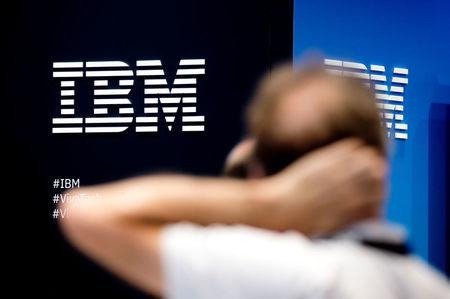 The IBM logo is pictured during the Viva Tech start-up and technology summit in Paris