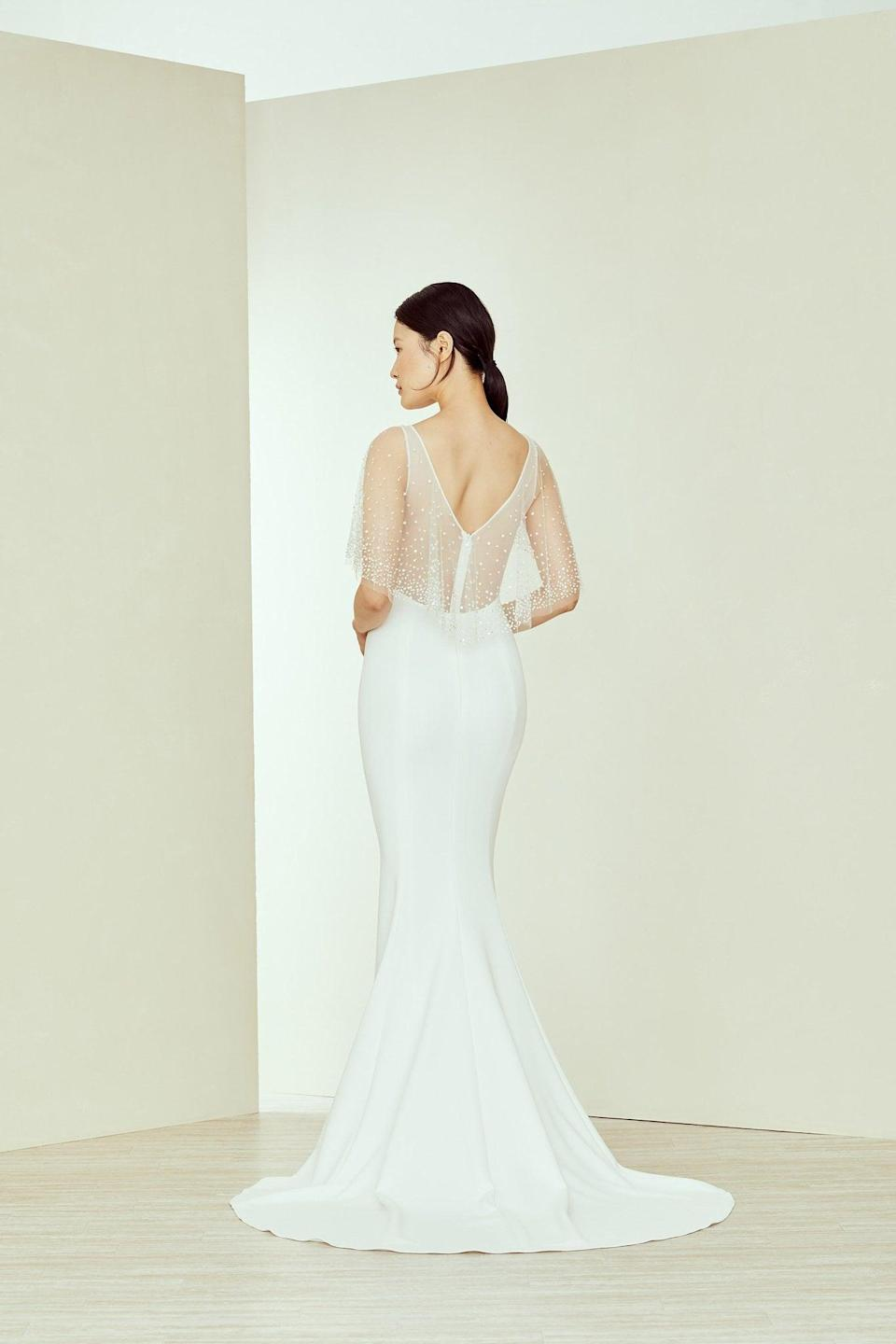 """<p>The sheer details on this <a href=""""https://www.popsugar.com/buy/Amsale-Jay-Gown-582310?p_name=Amsale%20Jay%20Gown&retailer=amsale.com&pid=582310&price=4%2C395&evar1=fab%3Aus&evar9=47551973&evar98=https%3A%2F%2Fwww.popsugar.com%2Fphoto-gallery%2F47551973%2Fimage%2F47552363%2FAmsale-Jay-Gown&list1=shopping%2Cwedding%2Cbride%2Cwedding%20dresses%2Cfashion%20shopping%2Cbest%20of%202020&prop13=api&pdata=1"""" class=""""link rapid-noclick-resp"""" rel=""""nofollow noopener"""" target=""""_blank"""" data-ylk=""""slk:Amsale Jay Gown"""">Amsale Jay Gown</a> ($4,395) are so ethereal.</p>"""
