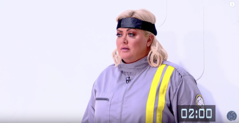 Gemma Collins wasn't happy with her instructions during a virtual reality challenge (Channel 4)