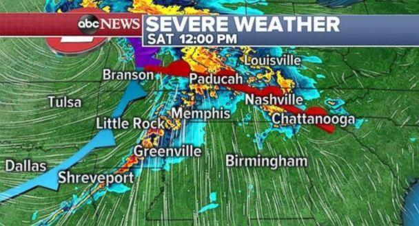 PHOTO: Severe storms are possible in the South on Saturday afternoon. (ABC News)